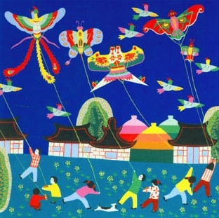 Kite flying_jinshan peasant painting